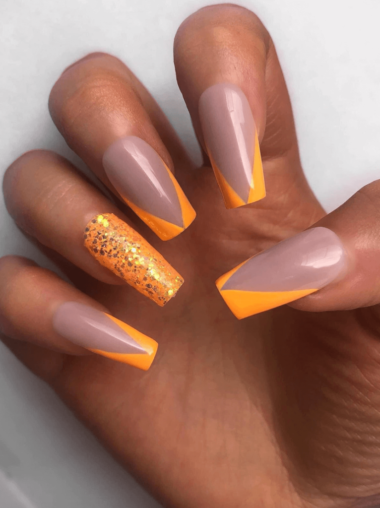 Abstract neon orange colored french nail tips ideas