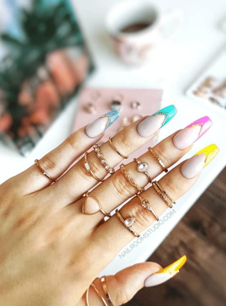 jelly french   gold charms Biju   rainbow press on false fake glue pop on long shot medium artificial nails customized