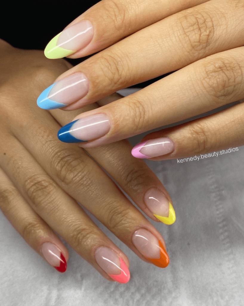 RAINBOW TIPS/ french tip/ press on nails/ pinterest/ tiktok/ modern/ trendy/ spring/ summer