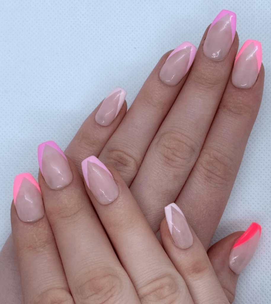 Pink french tip stick on nails