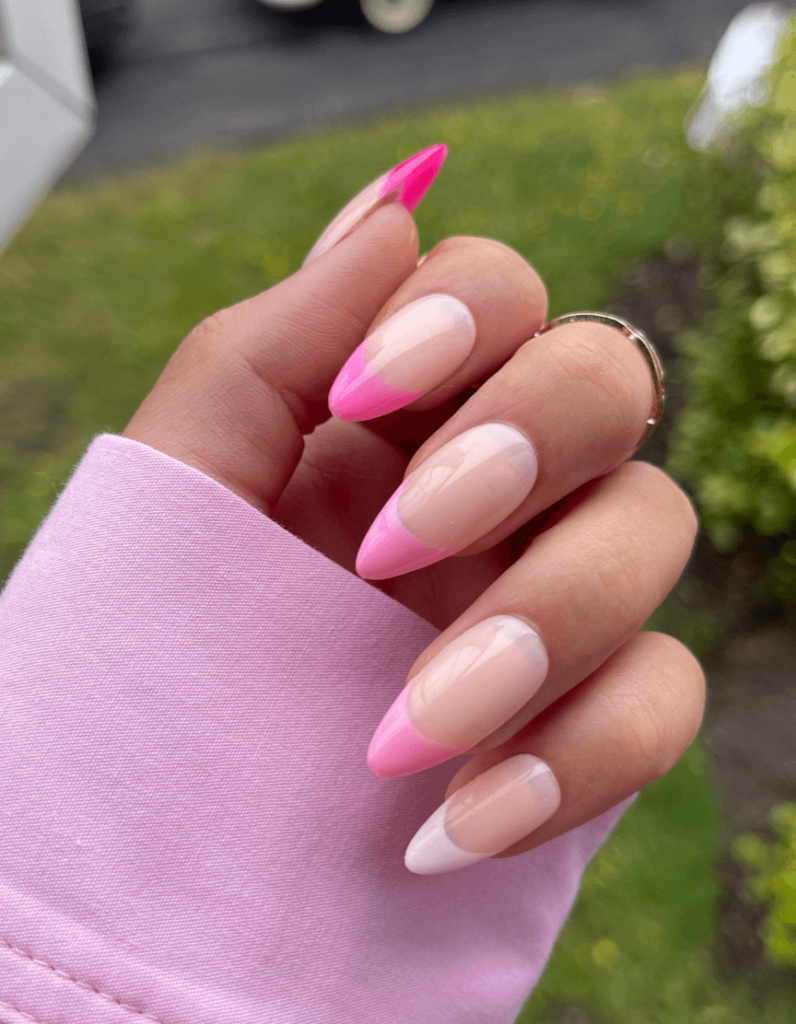 Pink Gradient French Tip Press on Nails