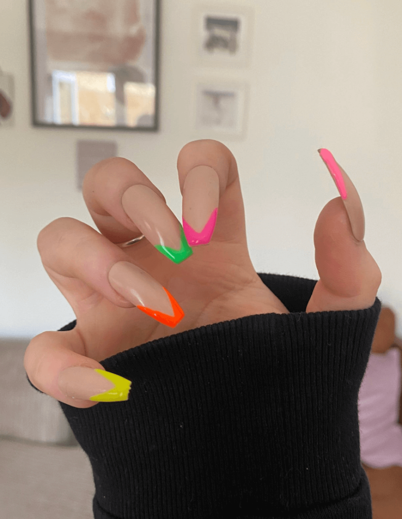 Neon French Tip Nails   multicolour   neon   luxury   press on nails