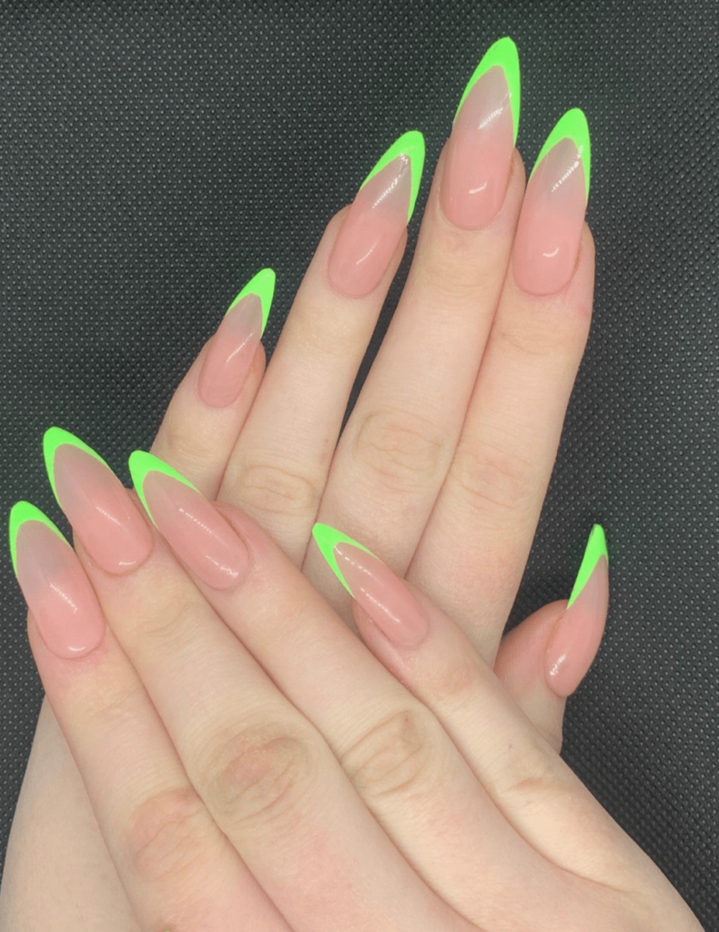 Neon green french tip stick on nails