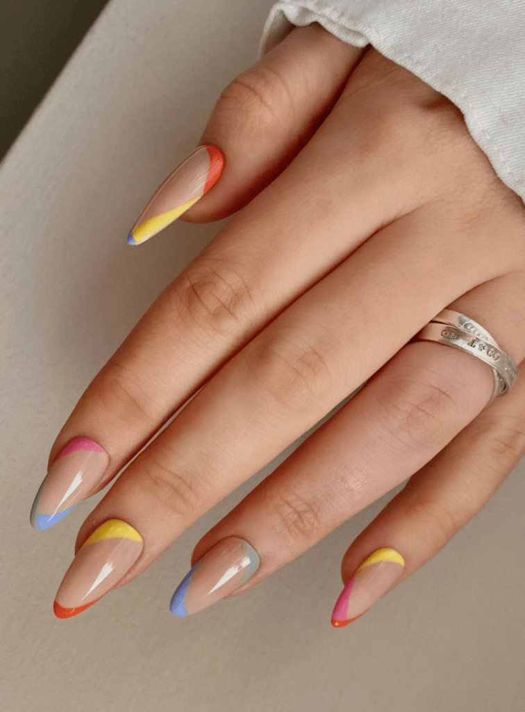 Abstract French nail tips design