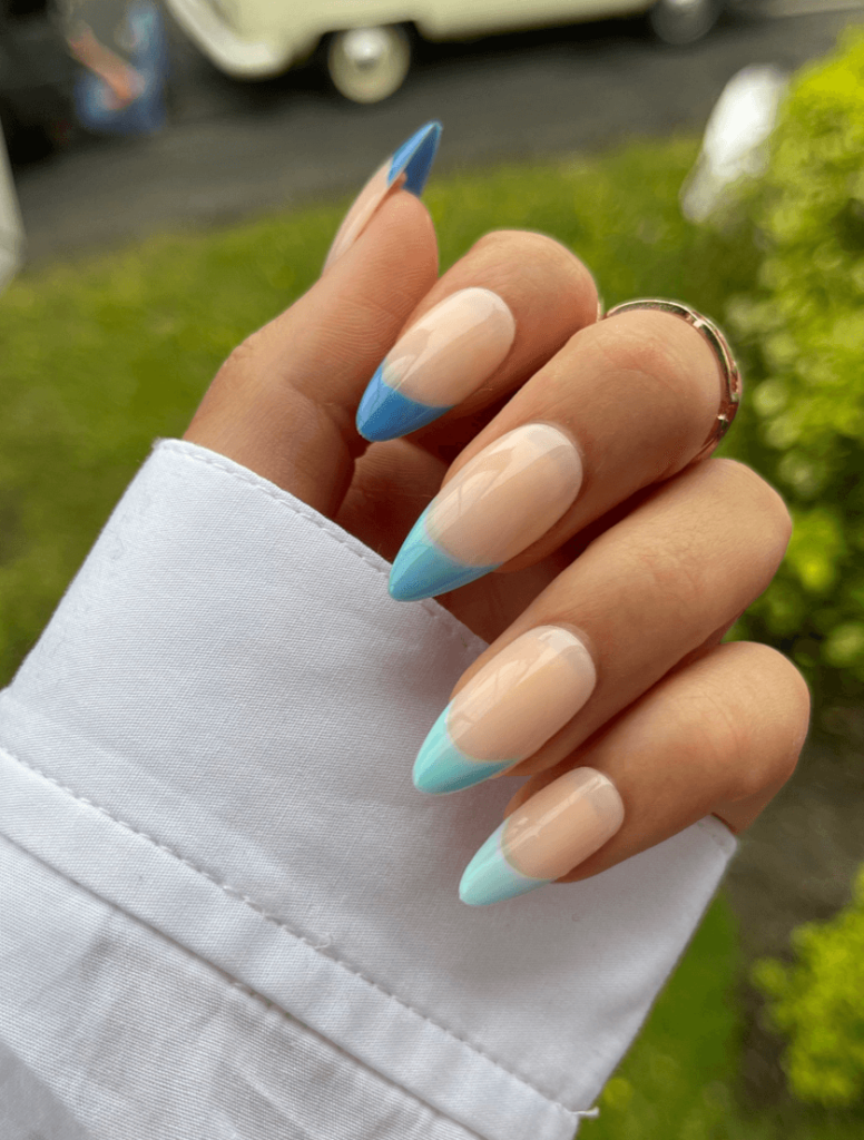 Blue Gradient French Tip Press on Nails