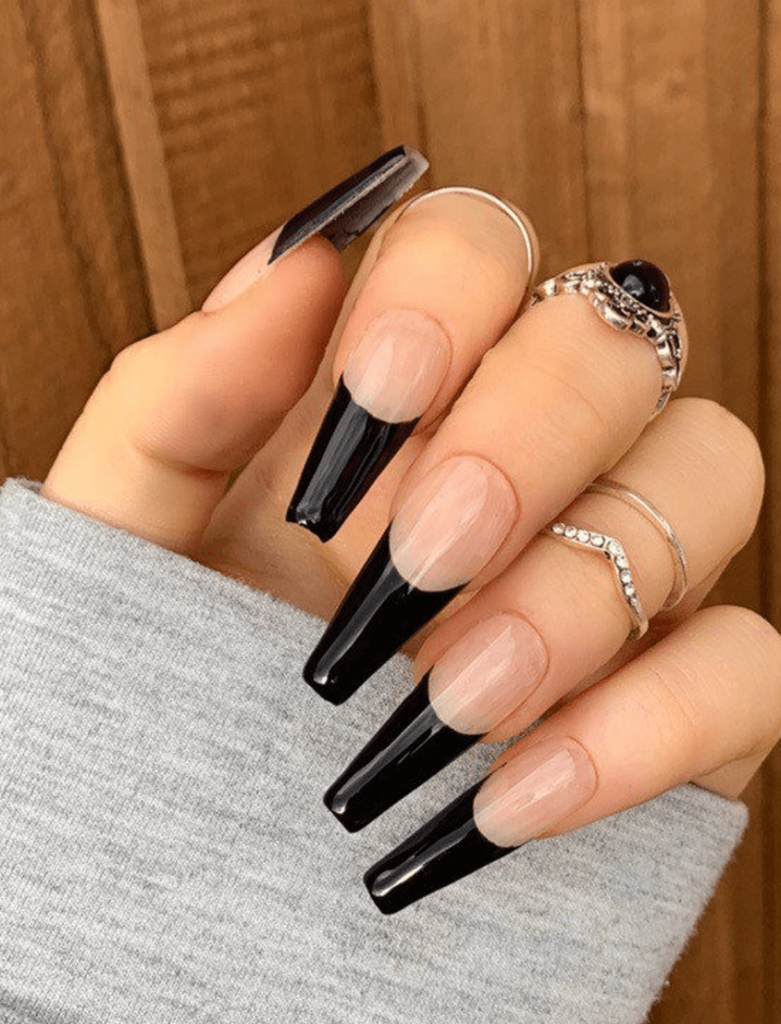 Glossy Black French Tip Press On Nails