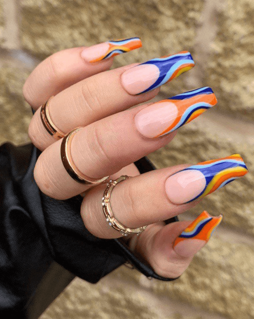 Blue & Orange Funky Swirl French Tip Press On Nails