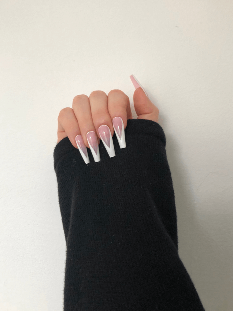 French tip with a twist in white   press on nails   gel nails   handmade