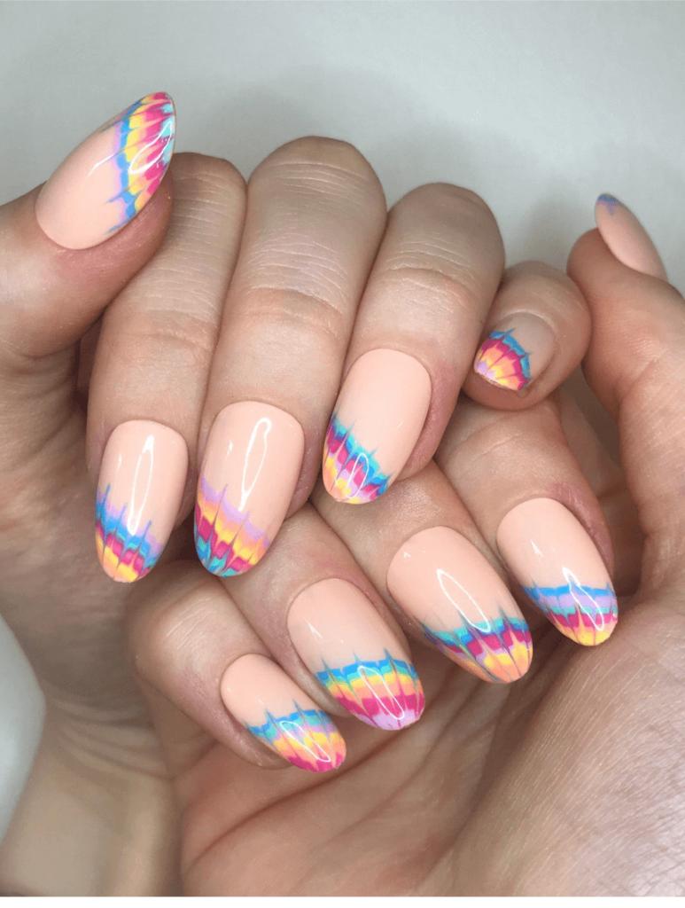 Tie-dye Rainbow French Manicure Custom Press On Nails