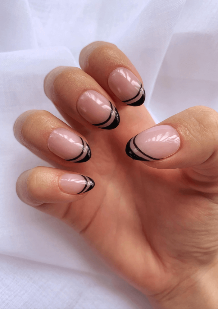 Black French Tips   Short Almond   Black French Tip Press Ons   Minimal Nails   Oval Press Ons   Short Nails   Classy Press On Nails