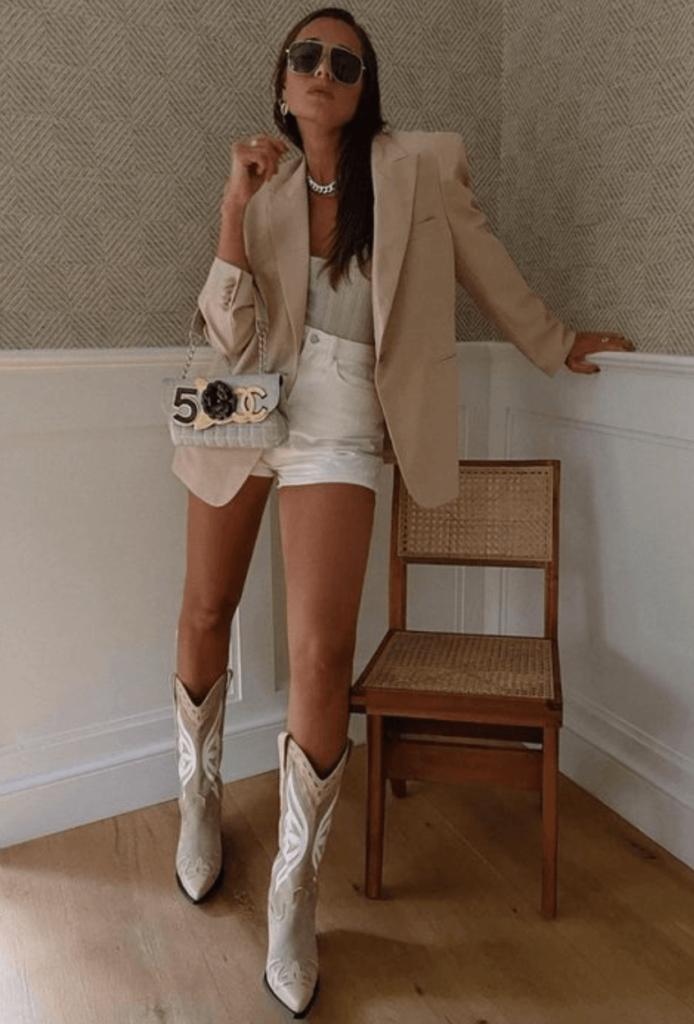 beige Cowboy boots with suit street style