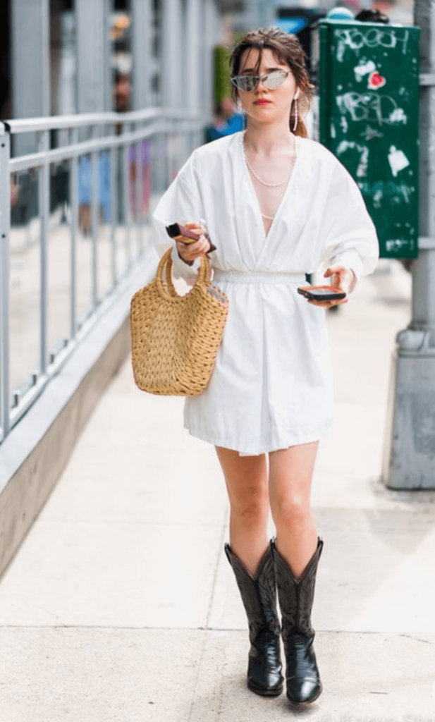 black cowboy boots with white dress