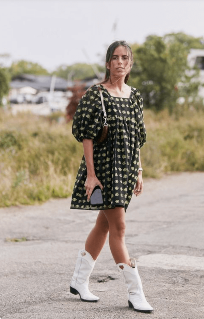 Cowboy Boots with dress Outfit Ideas