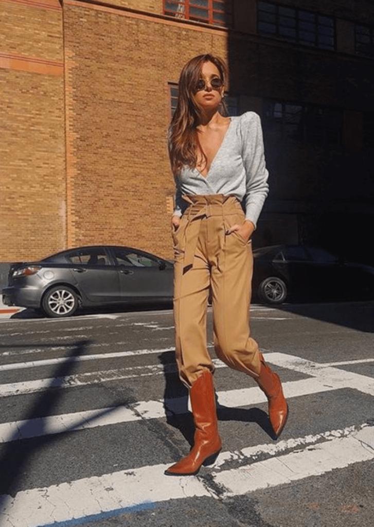 stylish brown cowboy boots streetwear