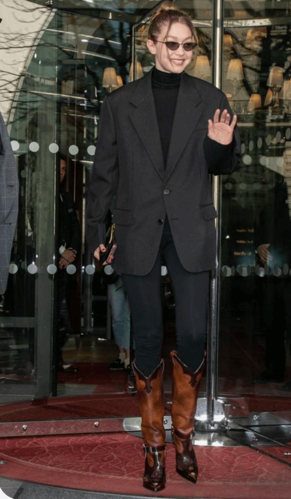 Gigi Hadid with brown cowboy boots