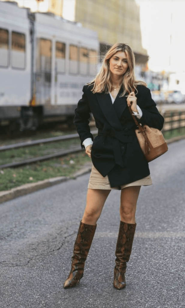 brown Cowboy Boots with skirt Outfit Ideas