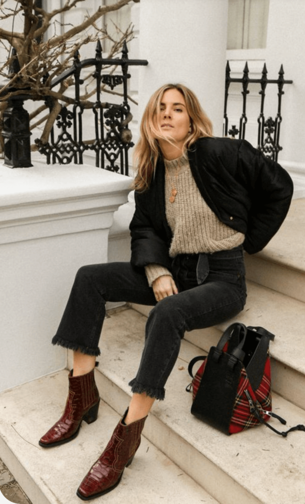maroon Cowboy Boots Outfit inspo for fall and winter