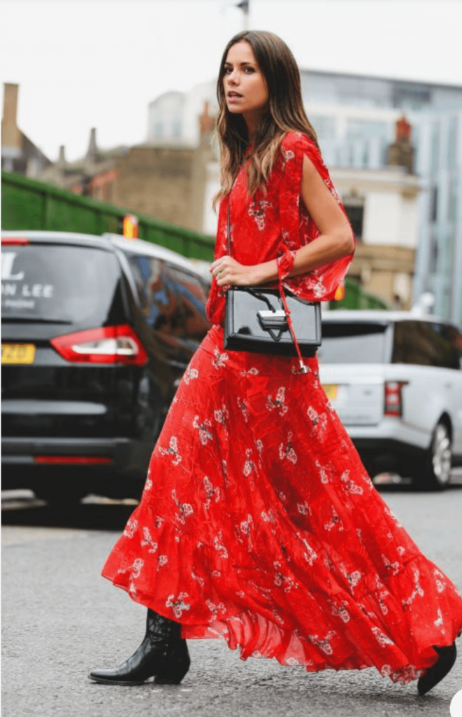black Cowboy Boots with long red dress Outfit Ideas