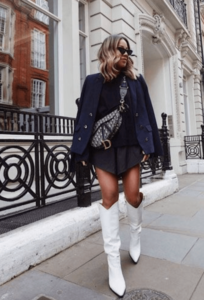 stylish white Cowboy Boots Outfit inspo