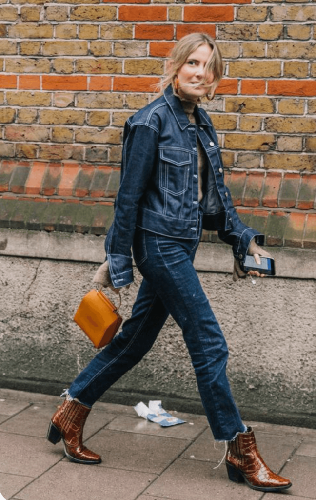 denim outfit with brown cowboy boots streert style