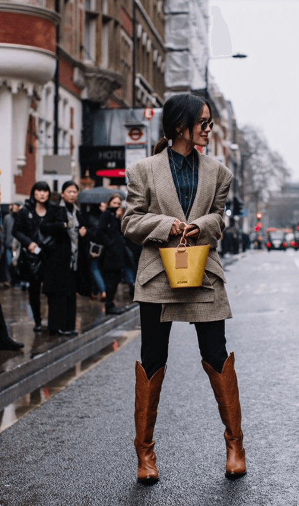 brown cowboy boot with brown blazer for winter and fall