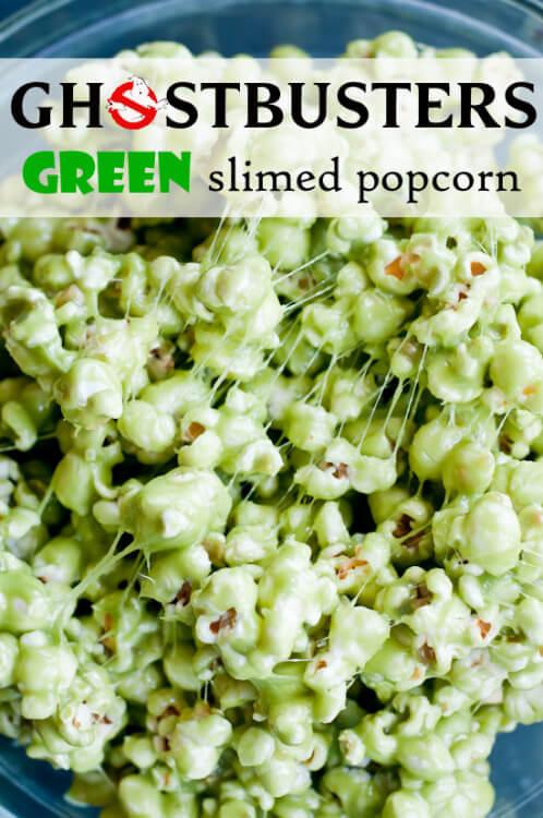 Healthy Halloween Green Slimed Popcorn