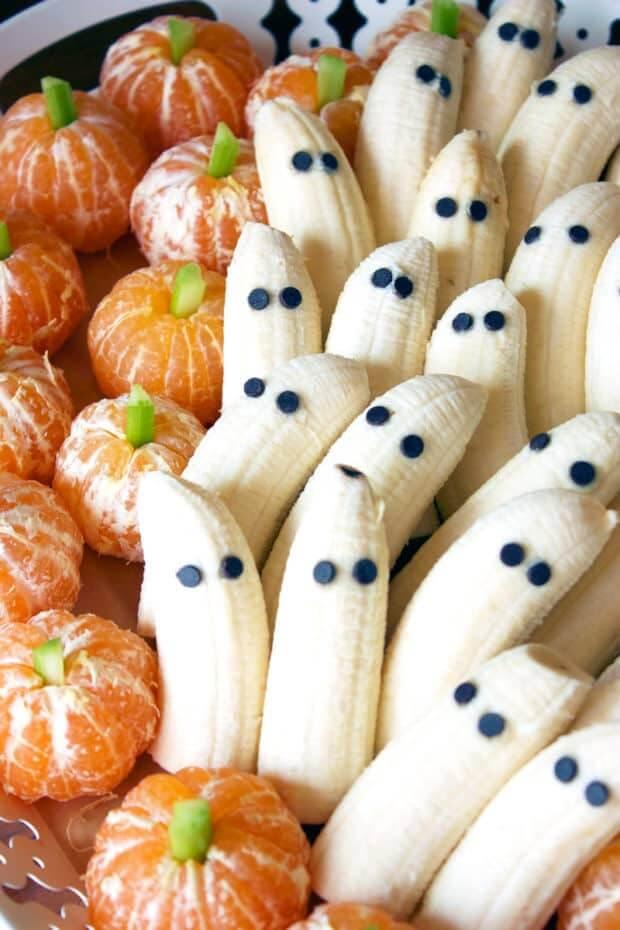 Healthy Halloween Snack Ideas Tangerine Pumpkins and Banana Ghosts