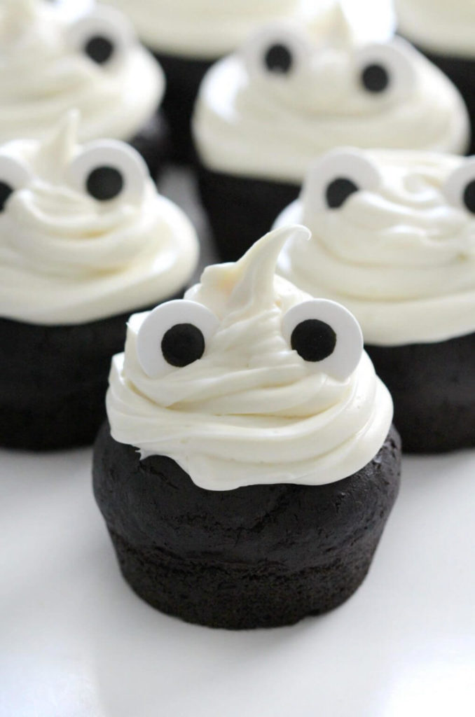Healthy Halloween Snack Ideas 25. Gluten-Free Ghost Cupcakes (Vegan, Allergy-Free)