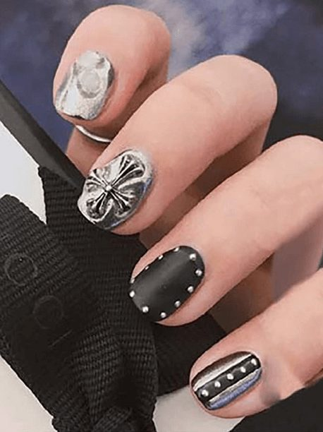 Retro Nail Stickers,3d Nail Art Decoration,Black Art Nail Craft, Popular Alloy Jewelry,Crowe Heart Cross Nail Decoration,Nail Embellishment