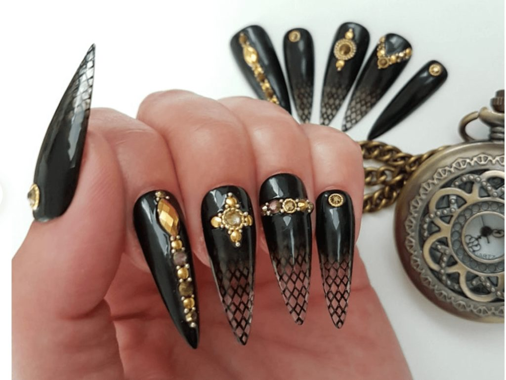 Press on nails, Gothic jewelry, black long Stiletto with gold crystals, gothic nails, Halloween nails