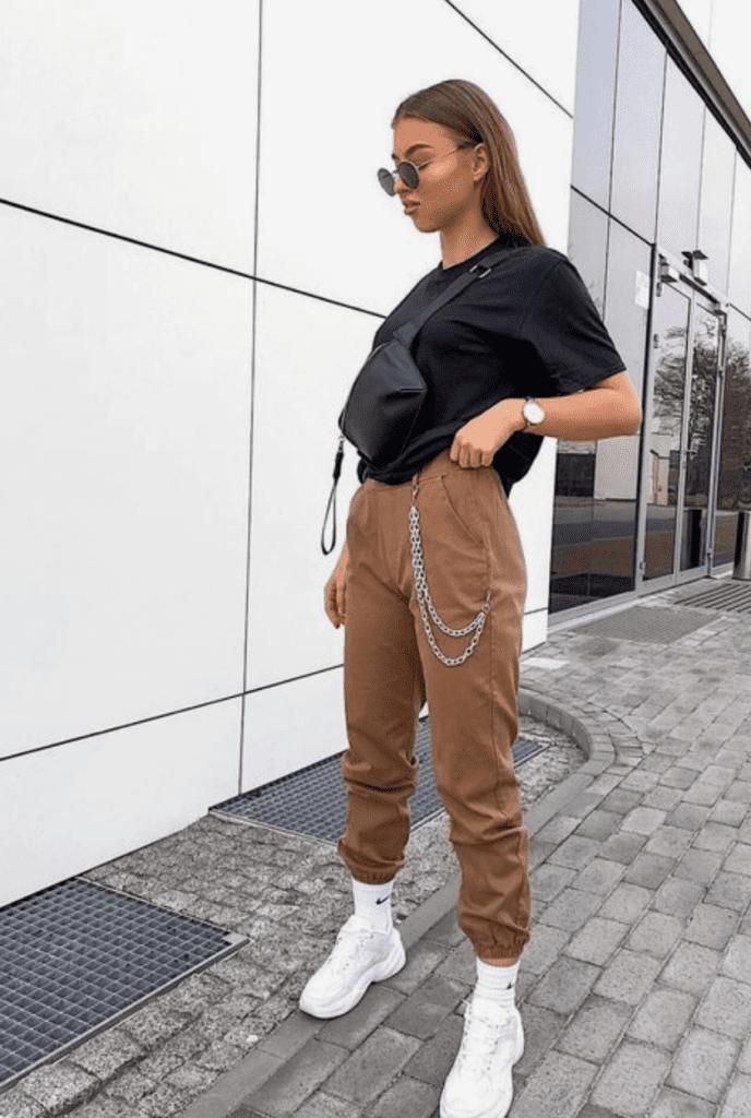 khaki pants whit black shirt style ideas for women