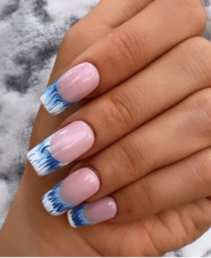 Blue and White French tip   Press on Nails   Ombre French tip Nails   False Nails   stick on nails