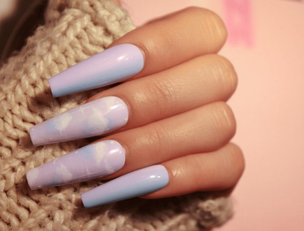 Blue/Purple Cotton Candy Sky Cloud Press-On Nails
