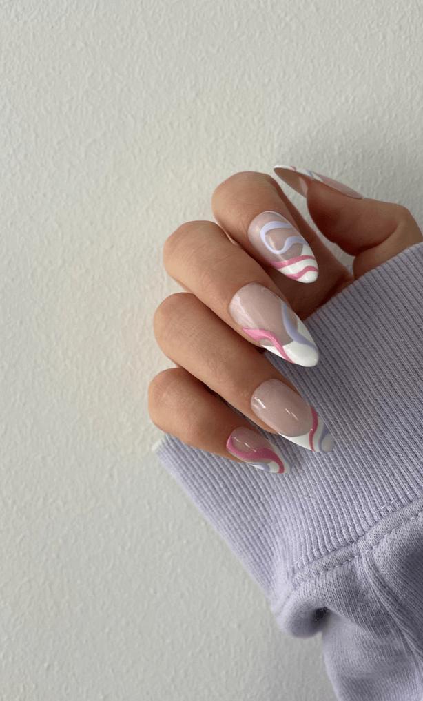 Cotton Candies   abstract nails   swirl nails   False Nails   Handmade Press On Nails   Canada US nails   Stiletto   Glue On Nails