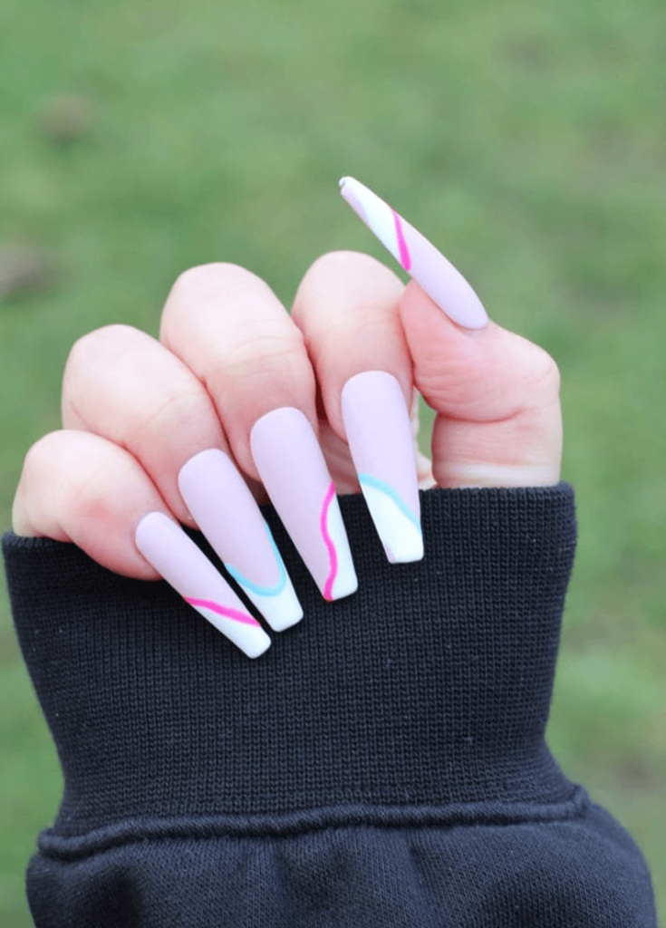 DRUNK COTTON-CANDY - Luxury Press-On Nails (Nude Nails with Irregular Blue and Pink Lined French Tip