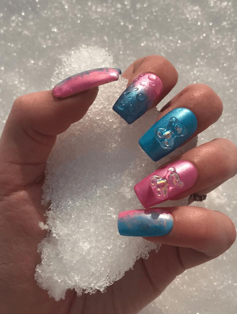 Cotton Candy Teddy Bears   Kawaii Nails   Soft Nails   Pink and Blue Nails   Teddy Bear Nails   Charm Nails