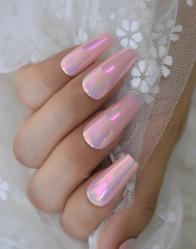 Holographic Pink Chrome Press On nails Glue on Kit coffin long