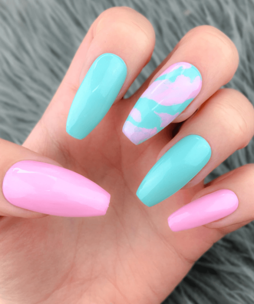 Cotton Candy Press on Nails   REUSABLE   Blue and Pink Nails   Short Nails   Press On Nails   Gender reveal   Fake Nails   False Nails