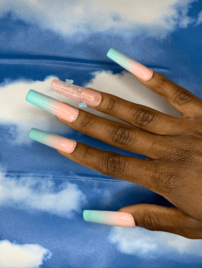 Teenage Dream extra long square set of cotton candy acrylic nails