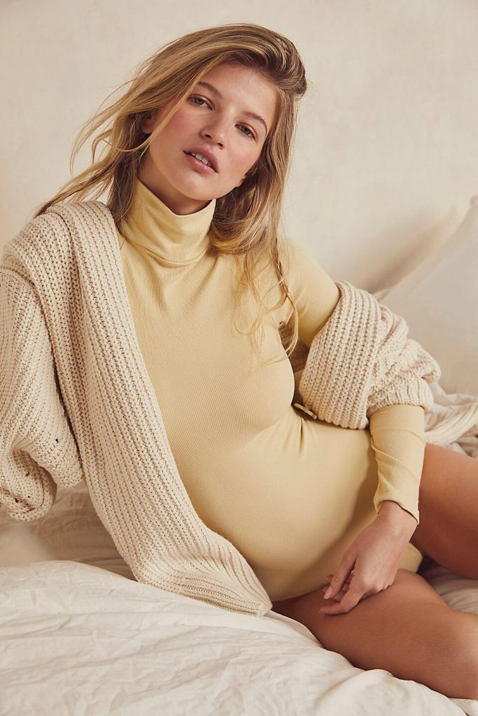 40+ Stylish Work From Home Outfit Ideas So You Always Look Cool like this Seamless Turtleneck Bodysuit