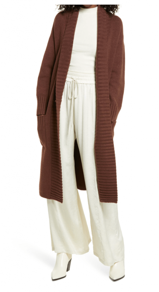40+ Stylish Work From Home Outfit Ideas So You Always Look Cool, such as this Brown belted long cardigan