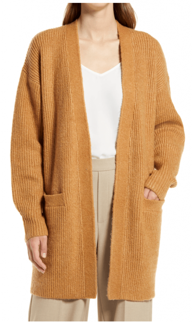 40+ Stylish Work From Home Outfit Ideas So You Always Look Cool, such as this Women's Open Front Long camel Cardigan