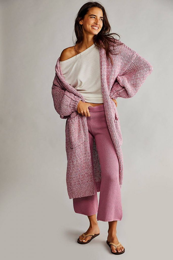 40+ Stylish Work From Home Outfit Ideas So You Always Look Cool, such as this cute pink Crofter Cardi