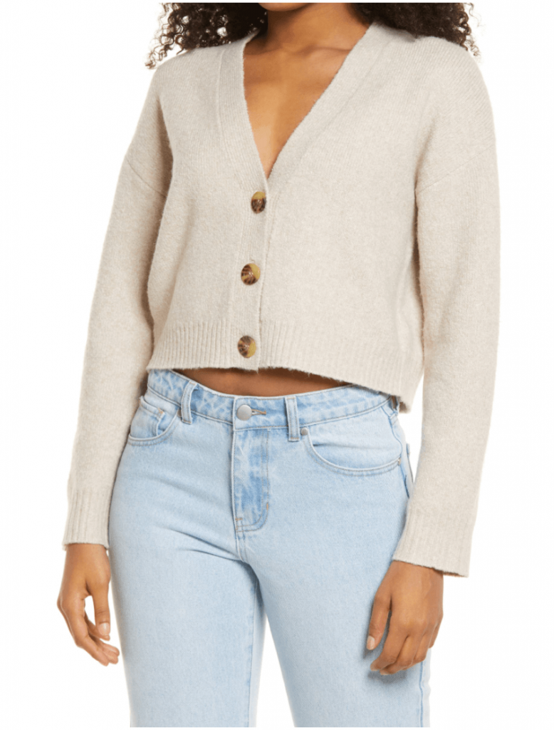 40+ Stylish Work From Home Outfit Ideas So You Always Look Cool, such as this white cropped cardigan with buttons